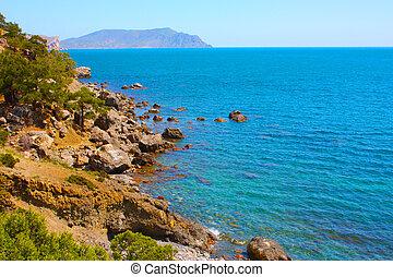 Amazing landscape of the Black Sea and the Karadag mountain in Crimea, Ukraine