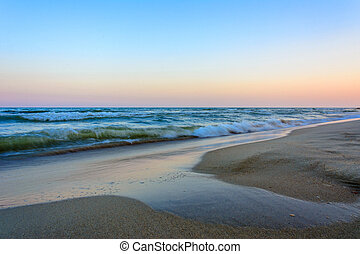 Amazing landscape of the evening Black Sea with magnificent waves