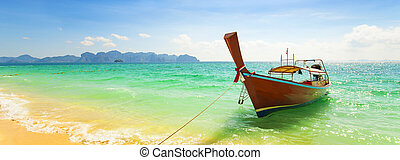 Amazing landscape with long tail boat in Thailand