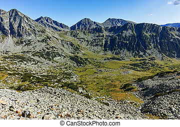 Amazing landscape with Yalovarnika, The Toots and The Dolls peaks, Pirin Mountain