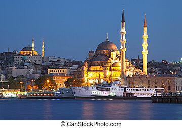 Amazing lighting Istanbul after suncet, evvening, Turkey
