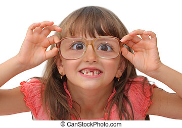 Amazing little girl in funny glasses isolated on white background