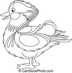 Black and white vector illustration of a wild freshwater bird drawn in cartoon style