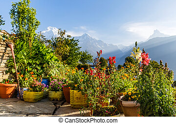 Amazing morning view in the Annapurna mountains