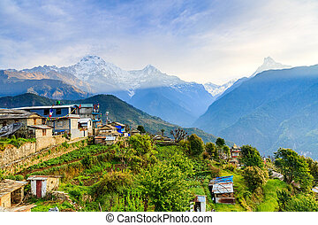 Amazing morning view to the mountains in Ghandruk village