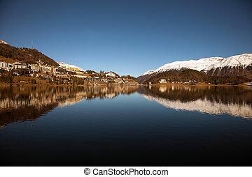 Amazing mountain scenery from St. Moritz, Switzerland