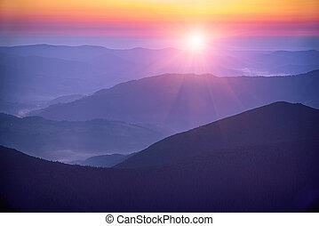Amazing mountain sunrise - Amazing mountain landscape with...