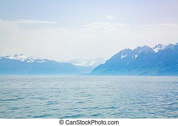 Amazing mountains of the Alps at Lake Geneva in Switzerland