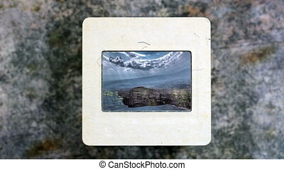 Amazing Mountains Reflected In The Water on vintage slide...