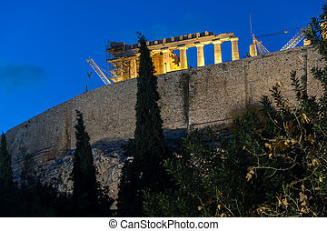 Amazing night photo of Acropolis of Athens, Attica, Greece