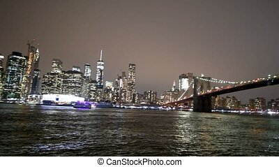 Amazing night view of Lower Manhattan from Brooklyn Bridge Park, NYC