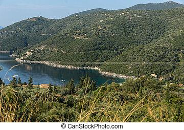Amazing panorama of Mikros Gialos beach, Lefkada, Ionian Islands