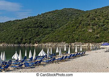 Amazing panorama of Mikros Gialos beach, Lefkada, Ionian Islands,