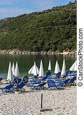 Amazing panorama of Mikros Gialos beach, Lefkada, Ionian Island