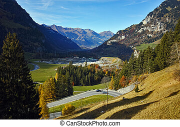 anorama to road in Swiss Alps