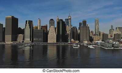 Amazing panorama view lower Manhattan skyline from the air NY USA