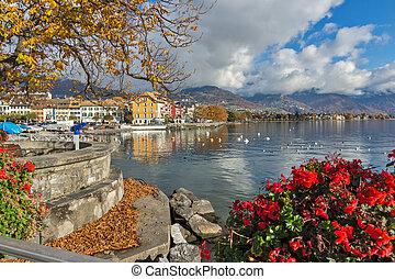 Amazing Panorama with flowers of Vevey, canton of Vaud, Switzerland