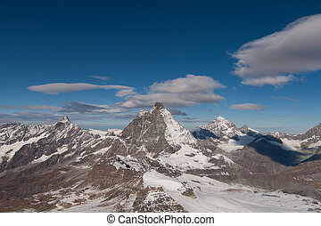 Amazing panoramic view of around Matterhorn peak, Alps
