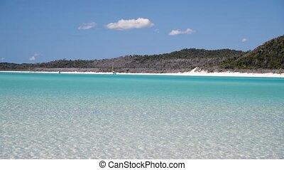 Amazing panoramic view of Whitehaven Beach, Queensland, Australia. Slow motion