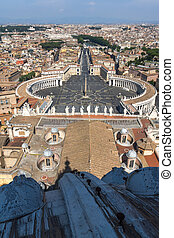 Amazing panoramic view to Vatican and city of Rome from dome of St. Peter's Basilica