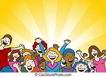 Amazing People - Cartoon of people cheering in amazement.