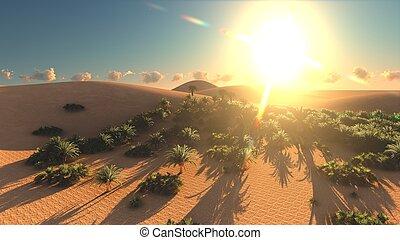 Amazing point of view on Sahara desert at sundown 3d...