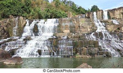 Amazing Pongour waterfall in Vietnam - Panoramic video shot...