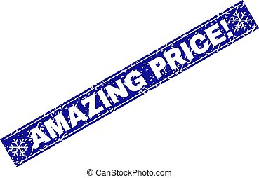 AMAZING PRICE! Scratched Rectangle Stamp Seal with Snowflakes