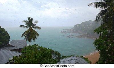 Amazing Rainy Seascape from Luxury Sea View Villa. Thailand.