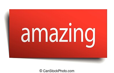 amazing red paper sign isolated on white