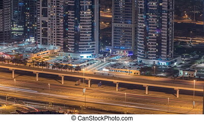 Amazing rooftop view on Sheikh Zayed road surrounded Dubai...