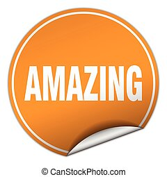 amazing round orange sticker isolated on white