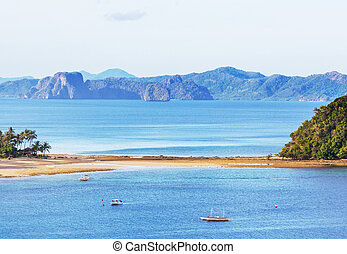 Palawan - Amazing scenic view of sea bay and mountain...