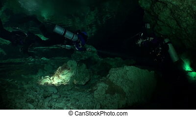 Amazing scuba diving in caves of Yucatan cenotes underwater...