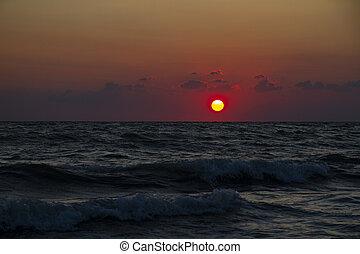 Anapa beach. Amazing sea sunset on the sea