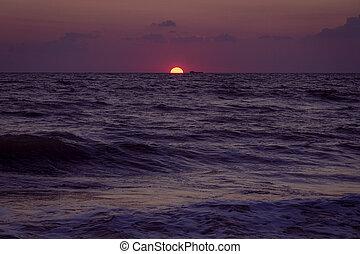 Anapa beach. Sea sunset on the Black sea
