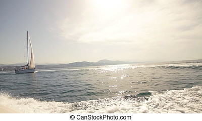 Amazing Seascape with White Sailing Boat in Blue Sea. - Sail...