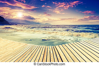 Amazing seaside - Amazing morning sun over the sea with...