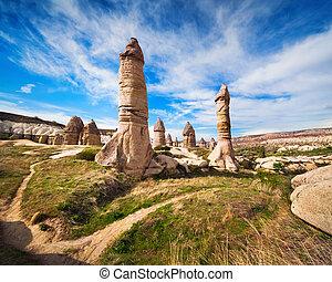 Amazing shapes in sandstone canyon near famous Goreme...