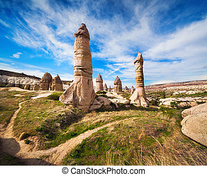 Amazing shapes in sandstone canyon near famous Goreme...