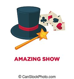 Amazing show promotional poster with magic tricks equipment
