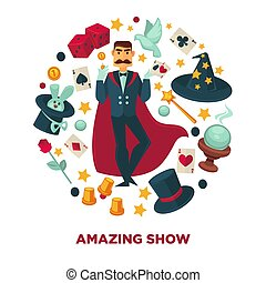 Amazing show promotional poster with magician and equipment