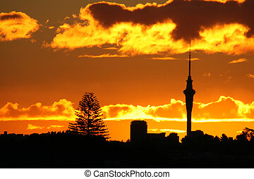 Amazing Sky Tower Sunset - An Amazing Landscape silhouette...