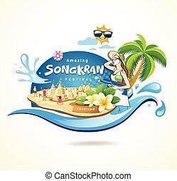 Amazing Songkran Festival in Thailand seashore concept...