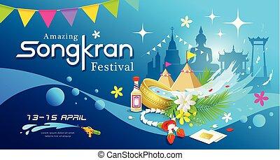Amazing Songkran festival of Thailand water splash background