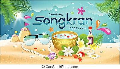 Amazing Songkran Festival summer of Thailand on sea