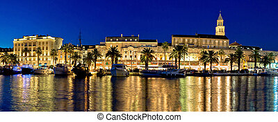 Amazing Split waterfront evening panorama, Dalmatia, Croatia