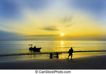 sunrise and fisherman