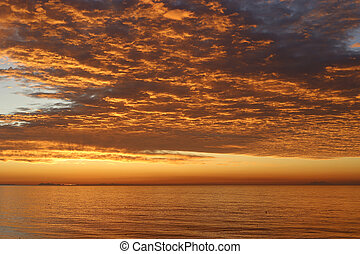 Amazing sunrise at sea in the morning
