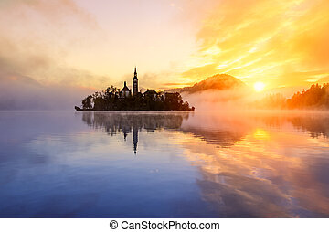 Amazing sunrise at the lake Bled in autumn, Slovenia